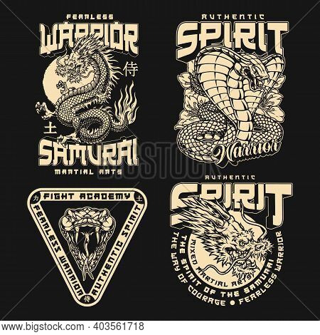 Japanese Fight Academy Vintage Emblems With Sakura Flowers Angry Cobra Fantasy Dragon And Snake Head