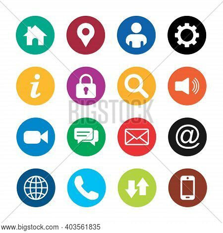 Round Icon Pack . Home Icon, Location Pin Icon, Man Icon, Gear Icon, Lock Icon, Search Icon, Sound I
