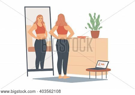 Woman Not Happy With Her Weight, She Looks At Her Belly And Waist, Stands In Front Of A Mirror And L