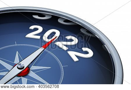3d Illustration Of An Compass With The Year 2022
