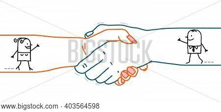 Hand Drawn Cartoon Man And Woman Walking Inside A Big Handshake