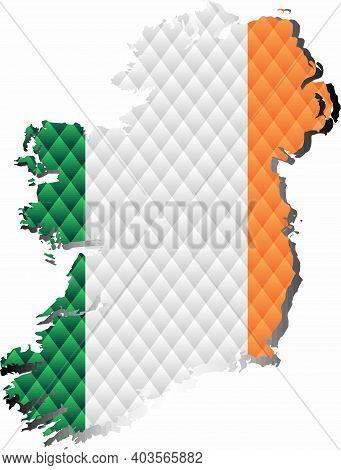 Mosaic Map Of The Ireland - Illustration,  Three Dimensional Map Of Ireland