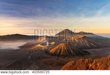 Beautiful Sunrise At Mount Bromo , The Active Volcano In Bromo Tengger Semeru National Park, East Ja