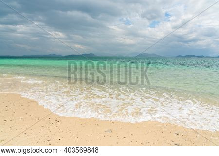White Sand Beach In Khang Khao Island, Ranong, Thailand In Cloudy Day