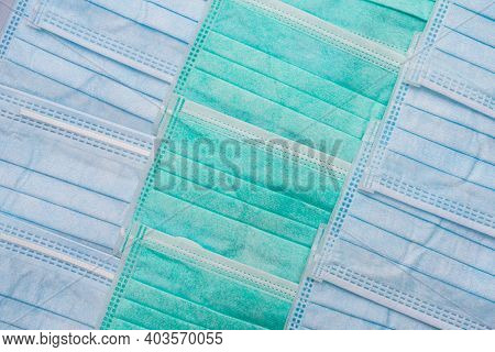 Blue And Green Surgical Masks Pattern Background