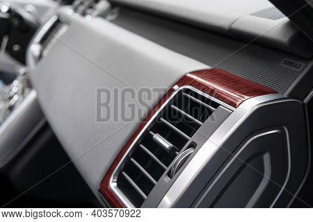 Ac Ventilation Deck In Luxury Modern Car Interior. Modern Car Black Leather Interior With Stitching.