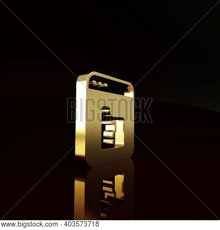 Gold File Missing Icon Isolated On Brown Background. Minimalism Concept. 3d Illustration 3d Render