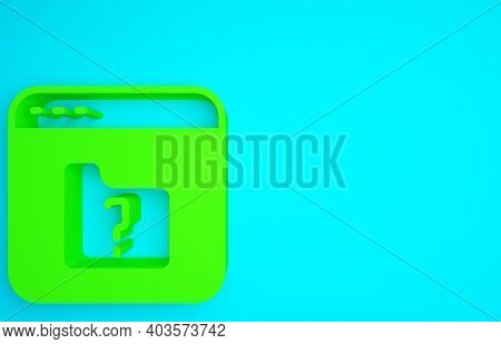 Green File Missing Icon Isolated On Blue Background. Minimalism Concept. 3d Illustration 3d Render