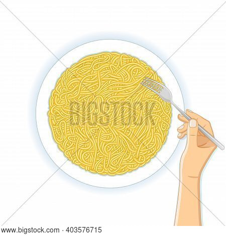Top View Of Fresh Delicious Plate Of Asian Ramen Noodles And Hand With Fork On White Background. Vec