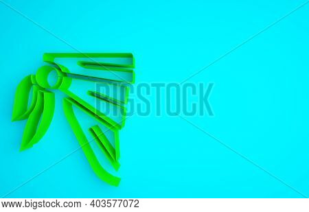 Green Bandana Or Biker Scarf Icon Isolated On Blue Background. Minimalism Concept. 3d Illustration 3