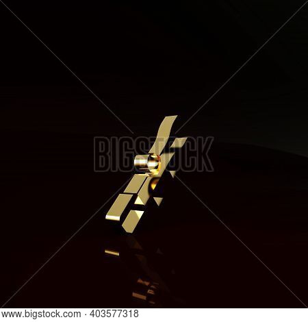 Gold Sniper Optical Sight Icon Isolated On Brown Background. Sniper Scope Crosshairs. Minimalism Con
