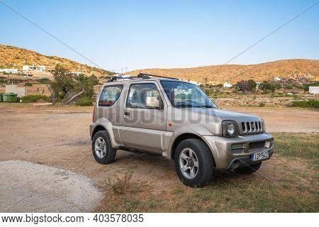 Ios, Greece - September 21, 2020: Suzuki Jimny 4X4 Car Parked On The Coast Of Ios Island. Cyclades,