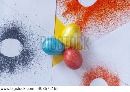 Colored Easter Eggs With Color Spread On White