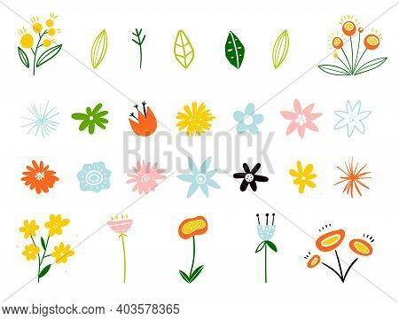 Spring And Summer Flowers In Flat Style Isolated On White Background. Plants And Branches. Set Of Fl