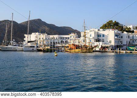 Ios, Greece - September 21, 2020: Chora Port On The Island Of Ios. Cyclades Islands, Greece