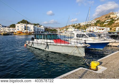 Ios, Greece - September 21, 2020: Boats Moored In Chora Port On The Island Of Ios Cyclades Islands,