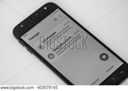Emergency Alert On Smartphone, Authorities Announce State Of Alert With Measures And Guidelines In B