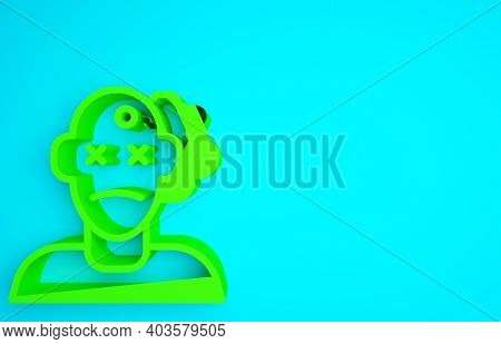 Green Murder Icon Isolated On Blue Background. Body, Bleeding, Corpse, Bleeding Icon. Concept Of Cri