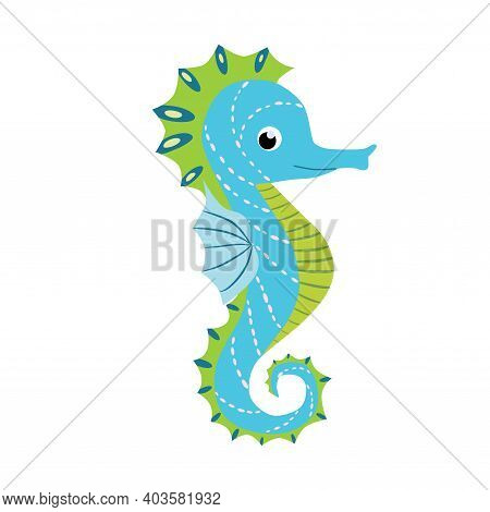 Seahorse, Scandinavian Style Hippocampus, Hand Drawn, Beautiful Detailed Turquoise