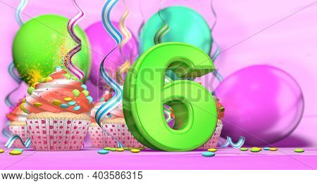 Birthday Cupcake With Sparking Candle With The Number 6 Large In Green With Cupcakes With Red Cream