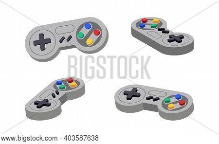 Joystick Set Different Angles. Gamepad Console Retro Control. Play Symbol Controller Icon. Video Joy