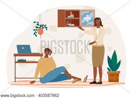 Male Character Hit His Head And Sat On Floor While Woman Is Searching First Aid Kit To Help. Female