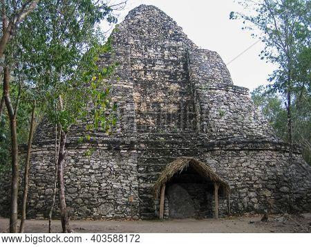 Ruins Of A Mayan Pyramid In The Jungles Of Coba, Mexico.