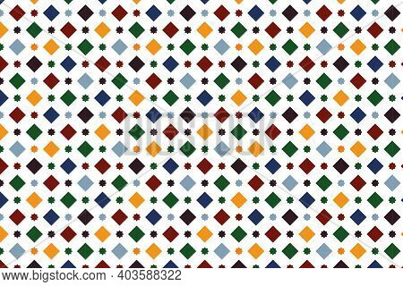 Wall Paper Simulating A Granada Tile, With A Pattern Of Squares And Eight-pointed Stars