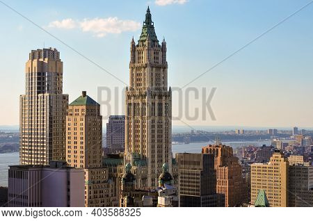 Aerial View Of The New York City Skyline From Downtown Manhattan.