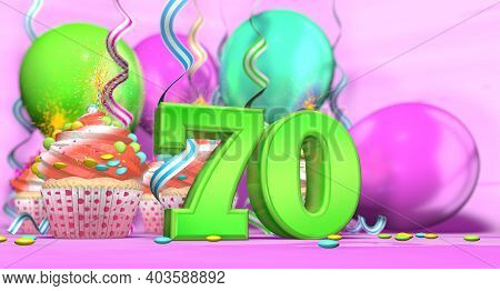 Birthday Cupcake With Sparking Candle With The Number 70 Large In Green With Cupcakes With Red Cream