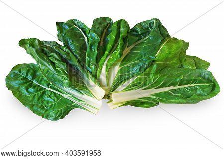 Balkan Cuisine. Blitva ( Chard Leaves ) - Popular Leafy Vegetables. Isolated On White Background