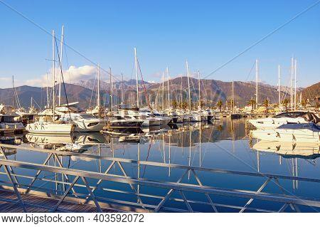 Tivat City, Montenegro - December 21 2020:  View Of Yacht Marina Of Porto Montenegro In Tivat City.