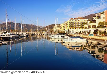Tivat , Montenegro - December 21 2020:  View Of Embankment Of Tivat City And Yacht Marina Of Porto M