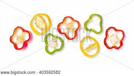 Horizontal Fresh Pepper Bell Vegetable Banner On White Background