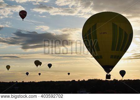 Vilnius, Lithuania - August 11 2016: Hot Air Balloons Above Vilnius City On August 11, 2016 In Vilni