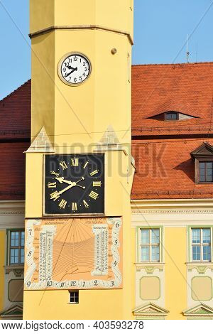 Bautzen, Germany - October 27: Bautzen Town Hall Clock On October 27, 2015 In Bautzen, Germany. Baut