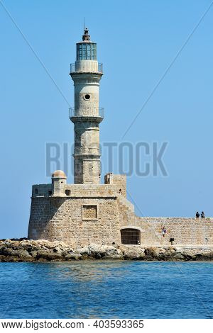 Chania, Greece - August 12: Lighthouse In Old Harbour Of Chania, Greece On August 12, 2014. Chania I