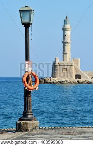 Chania, Greece - August 12: Architecture Details At Harbor Of Chania, Greece On August 12, 2014. Cha