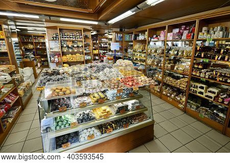Heraklion, Crete - August 09: Souvenirs And Sweets Store In Heraklion, Crete, Greece On 09 August 20