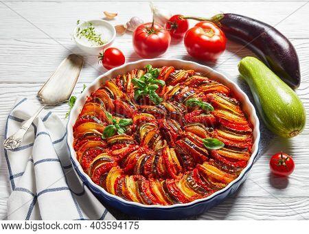 Ratatouille, Vegetable Stew Of Sliced Eggplant, Zucchini, Onion And Potato With Tomato Sauce, Ingred