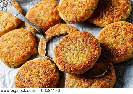 White Fish Cakes Of White Fish Fillet: Cod Or Haddock With Potato And Parsley, Breaded In Breadcrumb