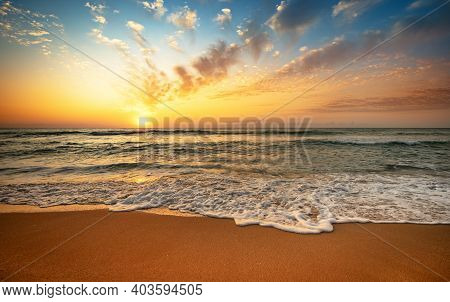 Landscape With Sea Sunset On Beach. Sunset!