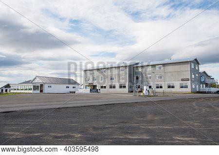 Myvatn Iceland - June 20. 2020: Hotel On The Banks Of Lake Myvatn