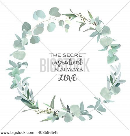 Greenery Selection Vector Design Round Invitation Frame. Rustic Wedding Greenery. Mint, Blue, Green