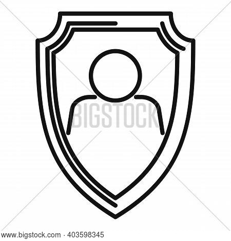 Personal Guard Shield Icon. Outline Personal Guard Shield Vector Icon For Web Design Isolated On Whi