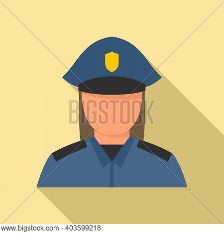 Woman Policeman Icon. Flat Illustration Of Woman Policeman Vector Icon For Web Design