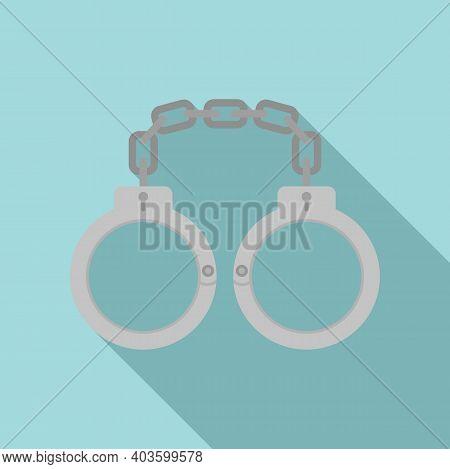 Policeman Handcuffs Icon. Flat Illustration Of Policeman Handcuffs Vector Icon For Web Design