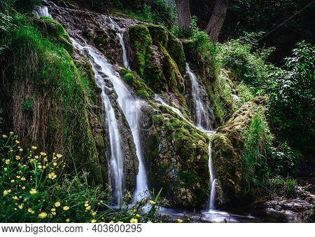 Waterfall In Nature. Waterfall In Serbia. Mountain River Waterfall. Nature. Waterfall. Natural Envir