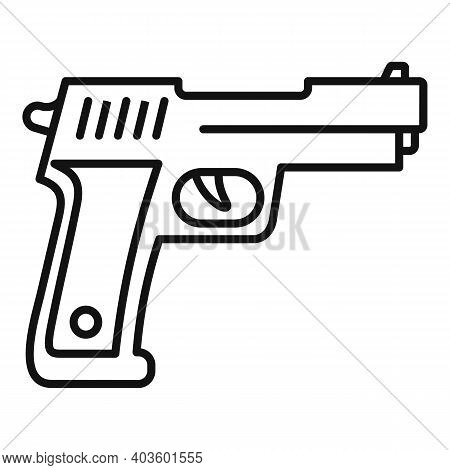 Policeman Pistol Icon. Outline Policeman Pistol Vector Icon For Web Design Isolated On White Backgro