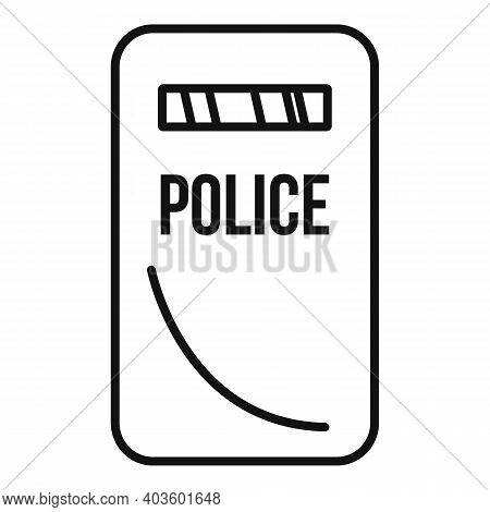 Policeman Shield Icon. Outline Policeman Shield Vector Icon For Web Design Isolated On White Backgro